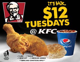 KFC 12 Dollars Tuesdays